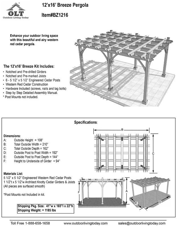 Breeze 12 Ft W X 16 Ft D Solid Wood Pergola In 2019 Porch Wood