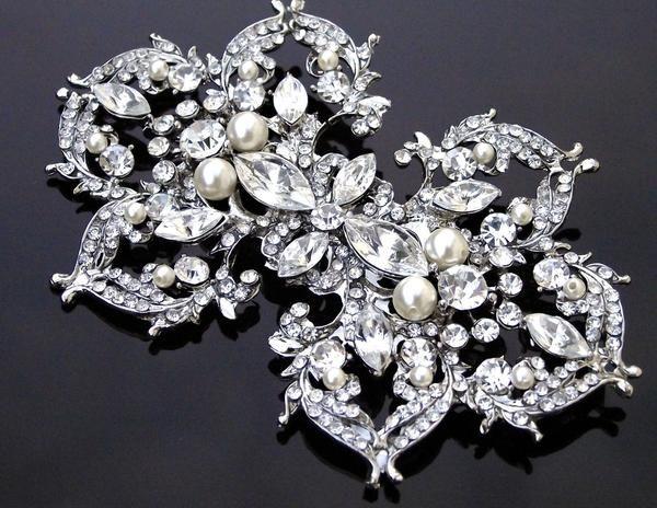 Wedding Brooches - Stunning Rhinestone Swarovski Pearl Brooch, Sophie