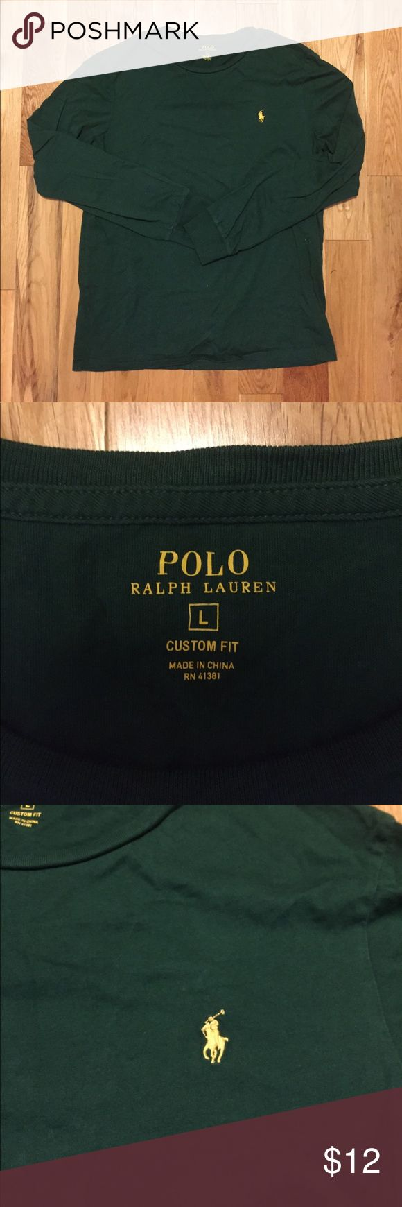 Men's Polo Ralph Lauren Long Sleeve Tee Size L Custom fit men's long sleeve tshirt in green with a yellow pony player Polo by Ralph Lauren Shirts Tees - Long Sleeve