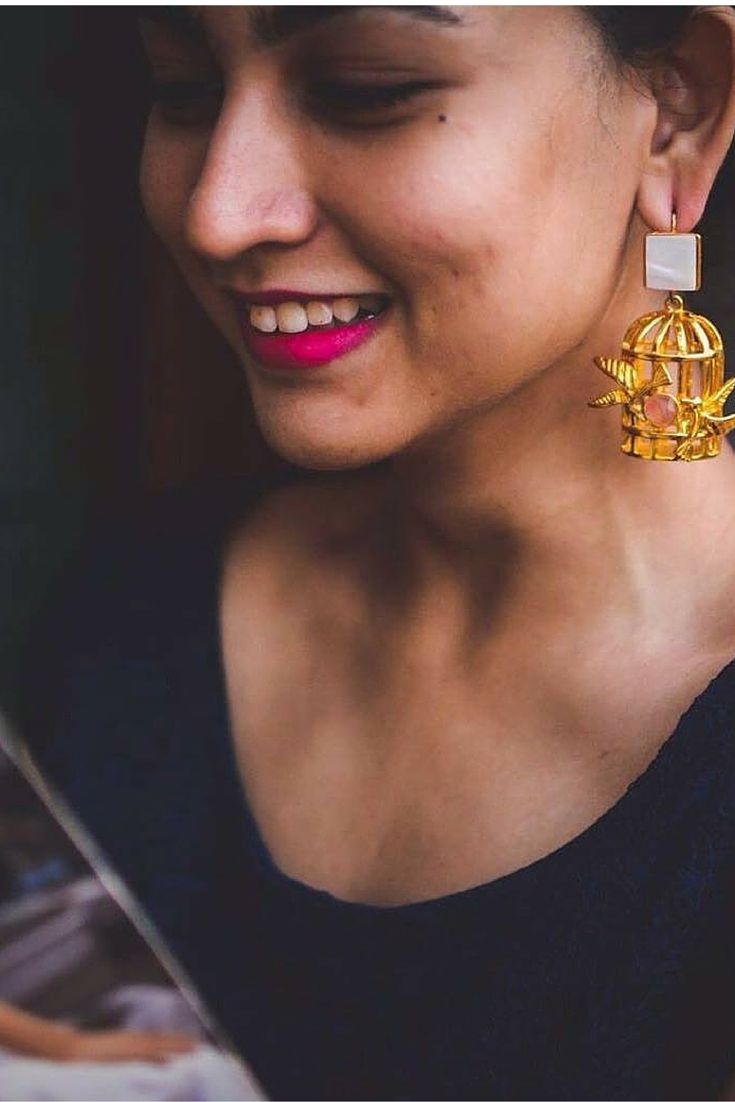 """""""Bird Cages""""  #esfir #birdcage #3DEarrings #statementjewelry #handcrafted #artisan #gold #pearls #crystals #earrings"""