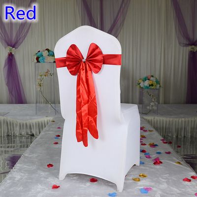 Colour Red chair sash long tail wedding butterfly bow tie lycra band stretch bow tie ribbon wedding decoration wholesale