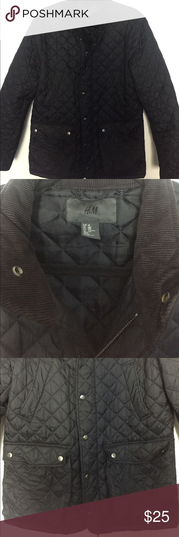 H&M Men's Navy Quilted Jacket Men's navy quilted jacket from H&M. Corduroy detailing on the collar. Zips up and also snaps over the zipper. Looks very similar to the Barbour style quilted men's jacket. Perfect for fall! H&M Jackets & Coats Lightweight & Shirt Jackets