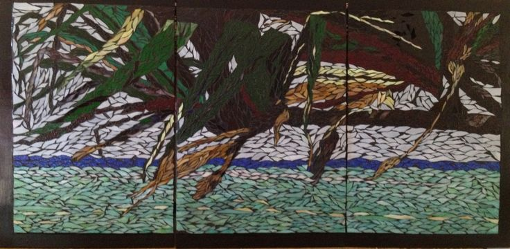 Glass mosaic - Pandanus over ocean triptych