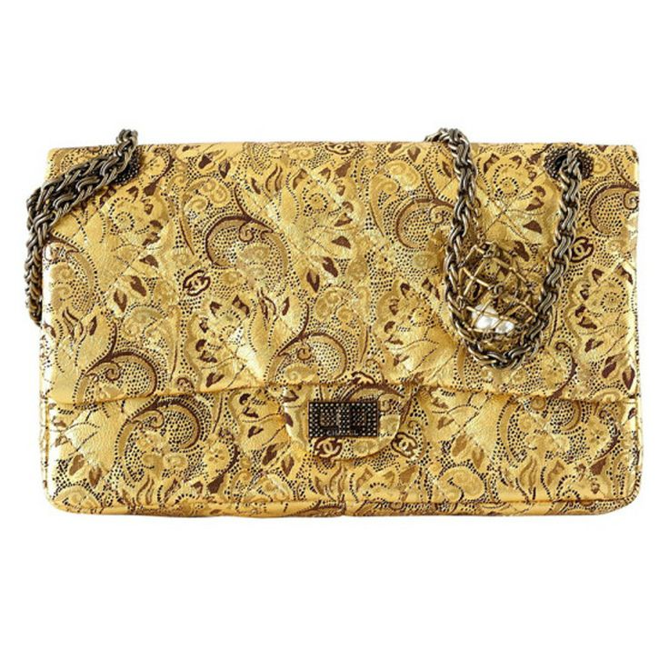 CHANEL bag 2.55 gold leather Moscow Collection Limited Edition Mint / box | From a collection of rare vintage handbags and purses at http://www.1stdibs.com/fashion/accessories/handbags-purses/
