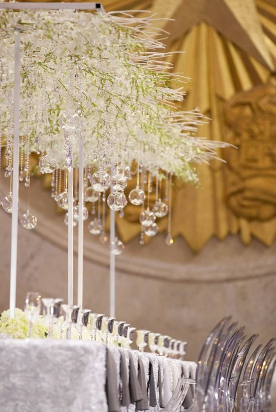 Wedding Centerpiece Ideas   Clear Glass Ornaments Handing From Tall  Centerpieces Of Crystal Branches. For Long Table Reception.