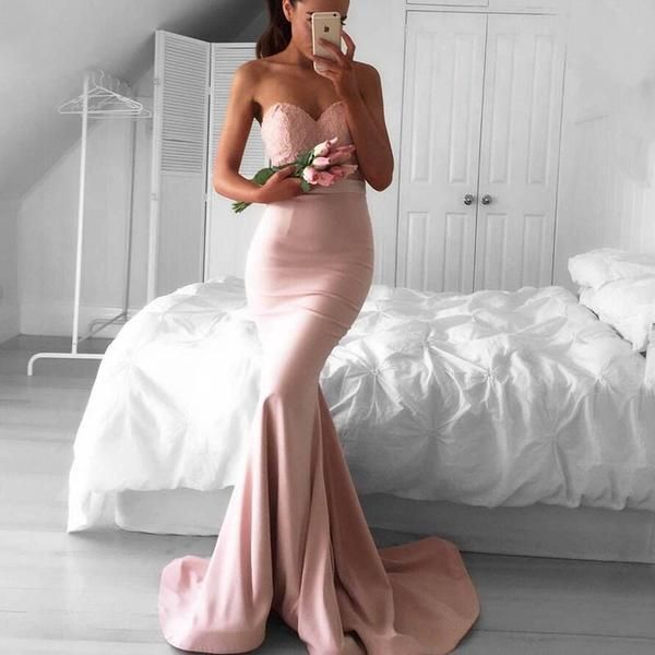 Glamorous Pink Mermaid Prom Dress - Sweetheart Sweep Train with Sash Lace Top - Solodresses