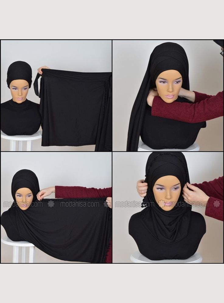 Practical Cross combing Shawl - Black - Pre-made Hijabs - Modanisa