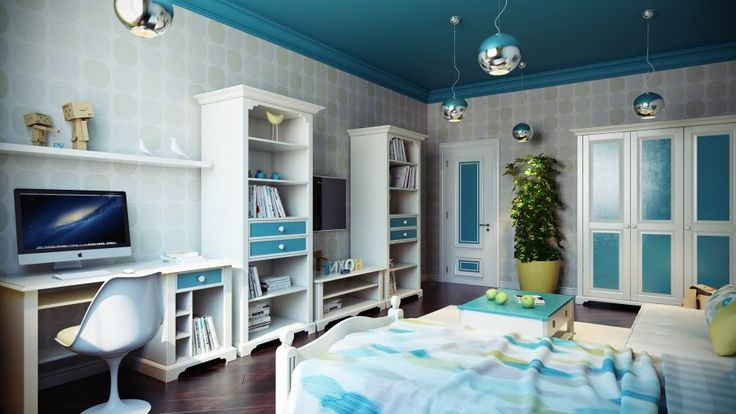 The Splendid Picturesque Kids Room Decoration Inspiration In White Blue Features An Entertainment Unit With Shelves, Ball Pendant Lights, Computer Desk, Tree Pot And Dark Hardwood Flooring