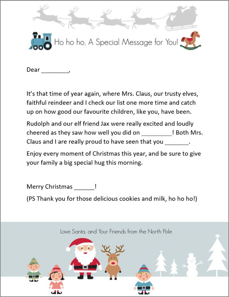 Free Letter From Santa Template Printable for Microsoft Word