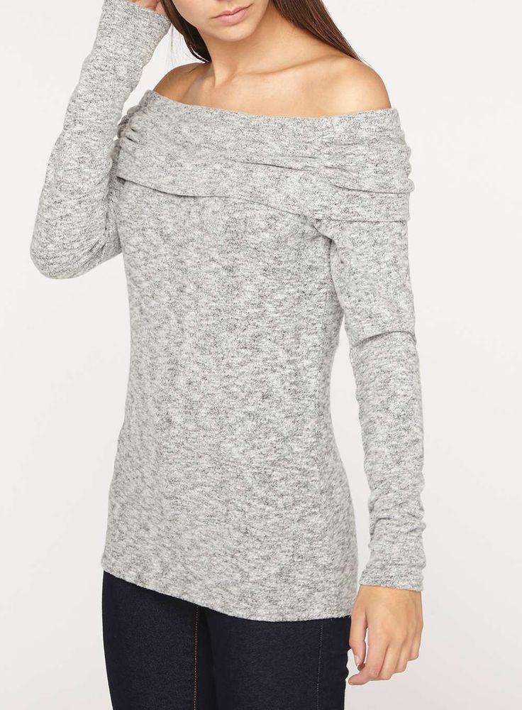 **Tall Grey Foldover Bardot Top - Tall Clothing - Clothing - Dorothy Perkins United States