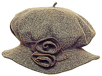Jane Austen Hat    ...is a comfortable, casual knock-around cap you'll live in during the frosty months. Handrolled roses and trapunto stitched brim combine to create a hat to match your warm personality. 100% wool. Brown.