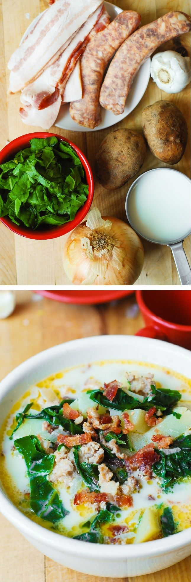 Delicious Olive Garden's Zuppa Toscana Soup made with Swiss Chard, Italian sausage (bratwursts will work too), potatoes, and bacon. Made in one pot, the soup takes only 40 minutes to make (including idle time while everything is simmering)!