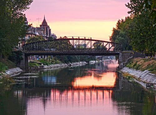 Sonnenuntergang, Eisenbrücke, Temeswar