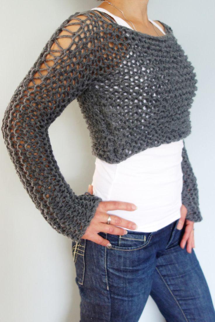 Knitting Pattern - Andra Cropped Thumb Hole Sweater ...