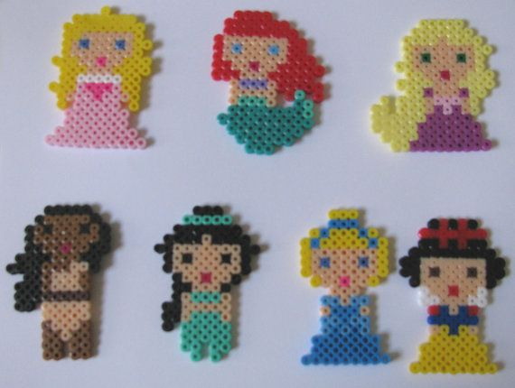Disney Princesses Magnets made from Perler Beads by LexiAndMaddy