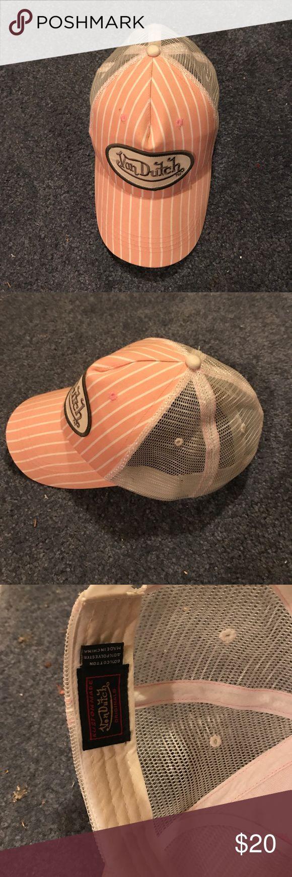 Pink Von Dutch trucker hat Pink and white stripped von Dutch hat with mesh backing. In great condition! Von Dutch Accessories Hats
