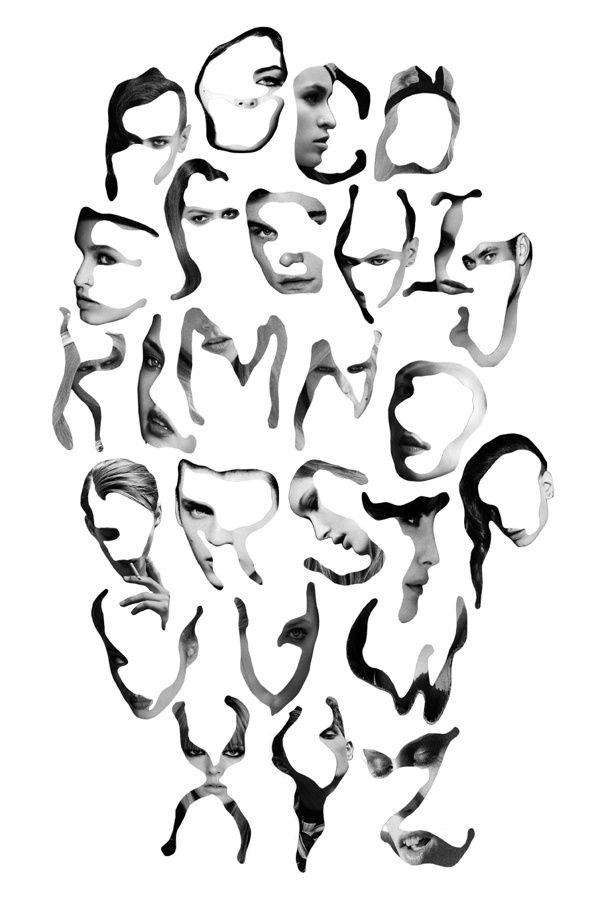 This is a really cool way to form the alphabet by using the human face in various ways to create the letters.
