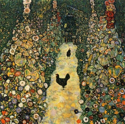 Garden Path with Chickens - Gustav Klimt 1917