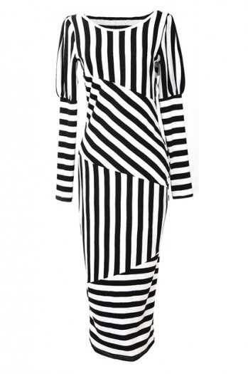 Black And White Strips Long Dress $55.99