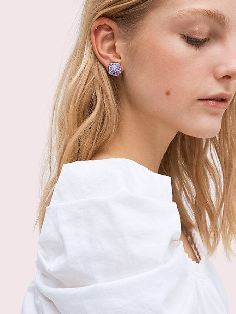 a5cfd65bc41c Kate Spade Clay Pave Small Square Studs, Violet | Products in 2019 ...