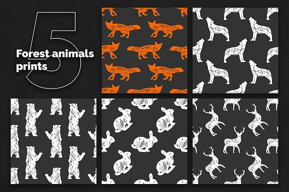 Forest animals 5 seamless patterns by CatMadePattern on @creativemarket