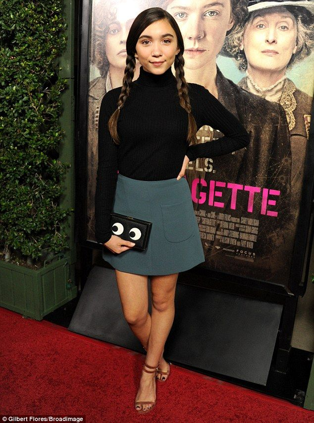 Teen support: Girl Meets World star Rowan Blanchard, 14, opted for a green mini skirt with...