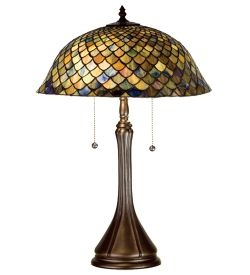 Tiffany Fishscale Stained Glass Table Lamp