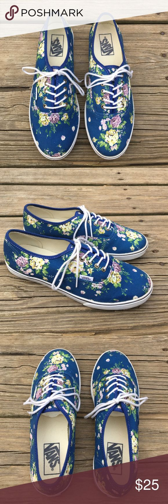 Women's Vans Lo Pro Floral Women's Vans Lo Pro Floral. Blue/White. Size 8. Barley worn. Almost like new. NO TRADES! Vans Shoes