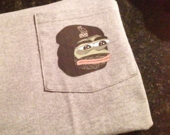 Pepe Frog Pocket T-Shirt Sad Frog Meme Shirt Dank by DumbShirts