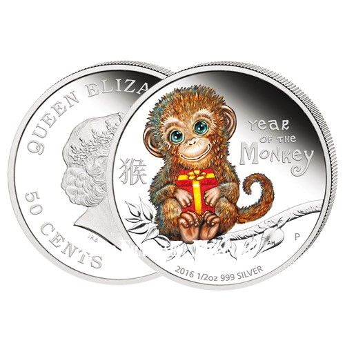 50 cents Argent BE 2016 Horoscope chinois - année du singe