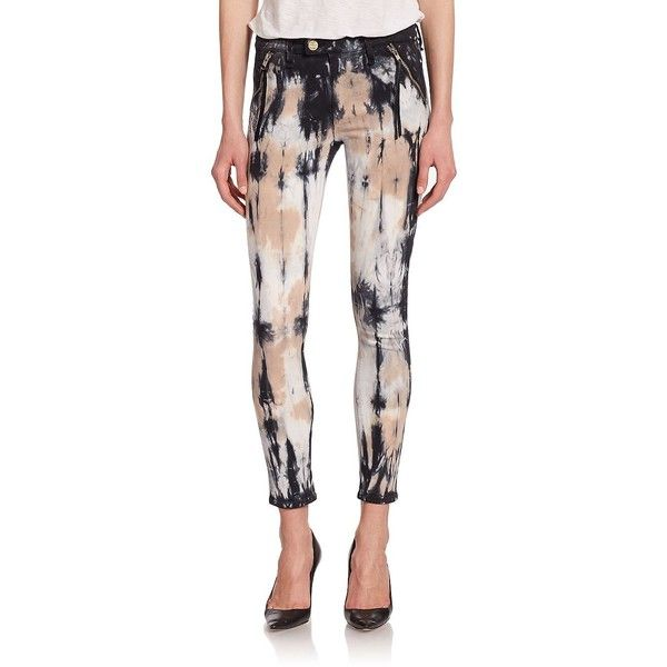 McGuire Margaux Tie-Dye Zip Skinny Jeans ($140) ❤ liked on Polyvore featuring jeans, apparel & accessories, babouche tie dye, super skinny jeans, white jeans, striped skinny jeans, stripe skinny jeans and skinny jeans