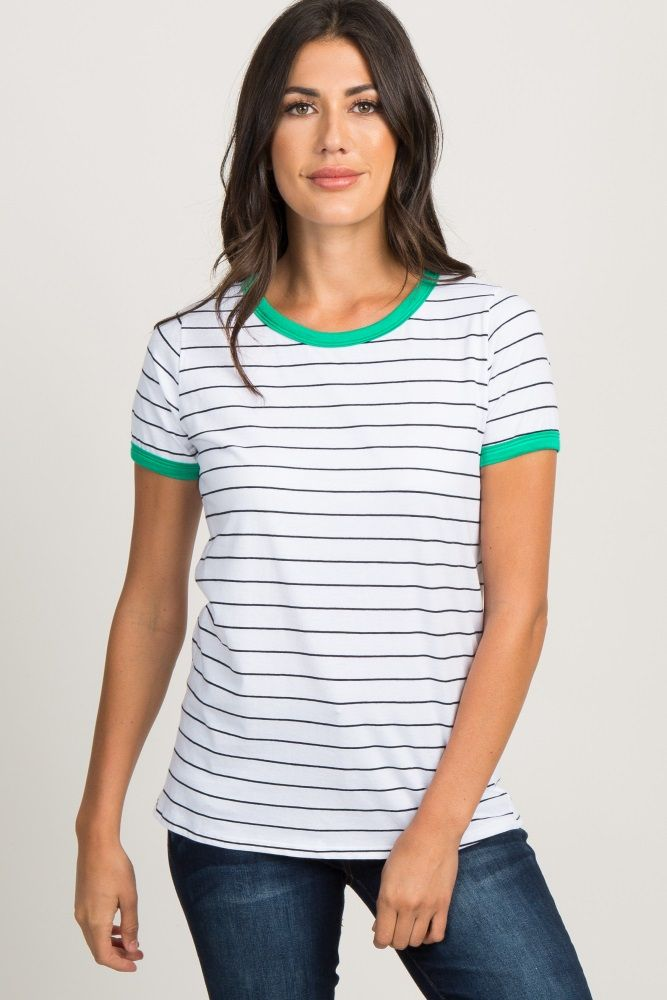 f341a538f1912 Green Striped Colorblock Short Sleeve Top in 2019 | My Style Pinboard | Tops,  Green stripes, Maternity tops