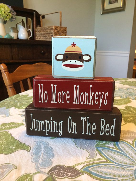 Sock monkey no more monkeys jumping on the bed custom birthday baby shower distressed wood blocks unique gift bedroom decor playroom on Etsy, $26.95