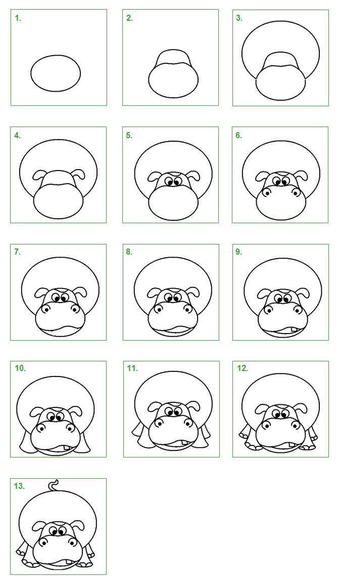 Nijlpaard 1. Leer stap voor stap hoe je gemakkelijk een nijlpaard kunt tekenen.
