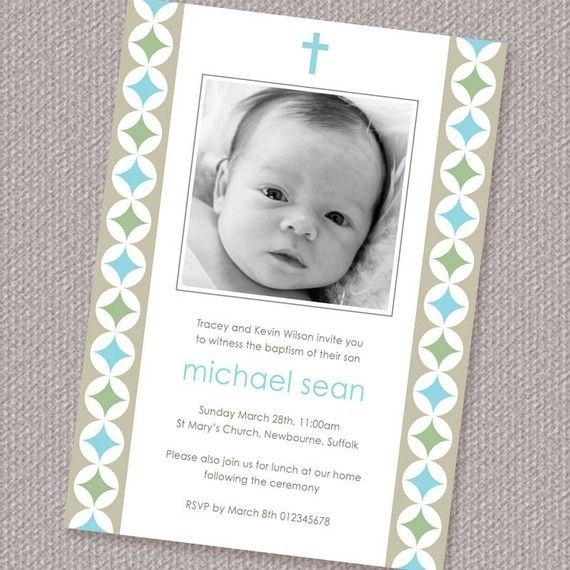 Modern Circles Boy Baptism or Christening Invitation by paperspice, $16.00