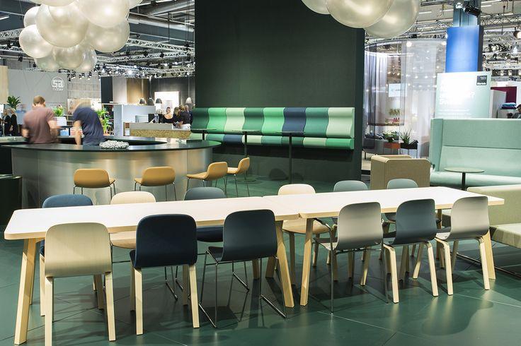 Couture table, design: Marie Oscarsson | Neo bar stool, design: Fredrik Mattson | Neo Lite chair, design: Fredrik Mattson | Lean In wall bench, design: Kaja Solgaard Dahl