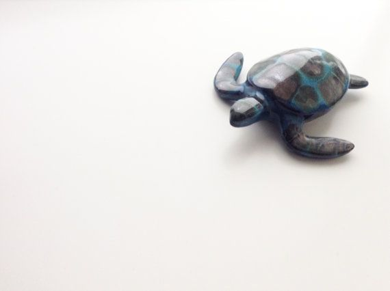 Sea Turtle ceramic  original handmade  ocean decor  by RINAdal1965
