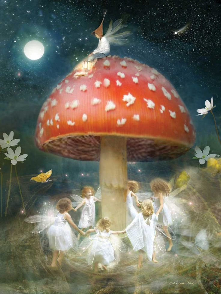 Fairies dancing happily around a toadstool under the full moon! Midsummer's Eve CG...........love this picture