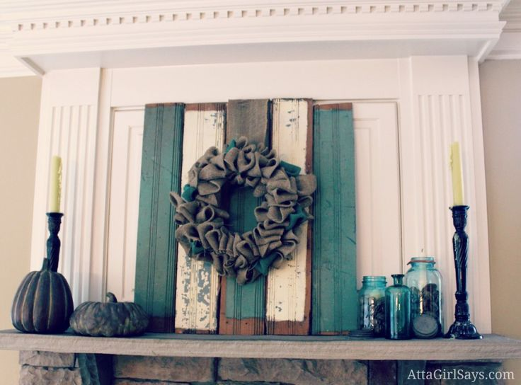 rustic fall mantel with blue mason jars by AttaGirlSays.com - Thinking I might use the idea of the boards for the mantel here.