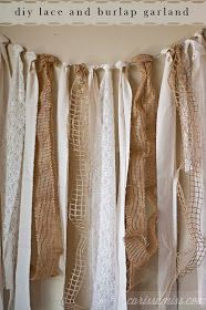 """""""DIY Burlap Garden"""" said last Pinner :: Meant 'Garland,' maybe? (Auto correct?!) I think this would be a great backdrop for my vendor booth ... easy to tie from one side to another, on furniture/display pieces, even in sections, if necessary ... (Note: no lace for me, but I DO love burlaps and linens ~ LOTS!!!)"""