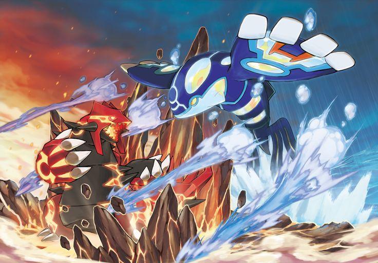 Primal Groudon vs Primal Kyogre concept art for Pokemon Omega Ruby and Pokemon Alpha Sapphire.