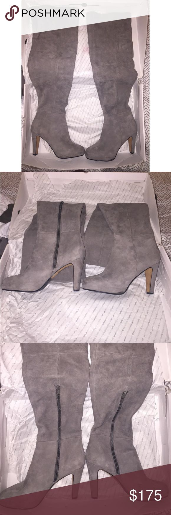 Aldo bannari over the knee boots in grey suede Over the knee thigh high boots that actually STAY UP Beautiful grey suede Brand new boots with box Weren't for me, I am way too tall already :( Aldo Shoes Over the Knee Boots