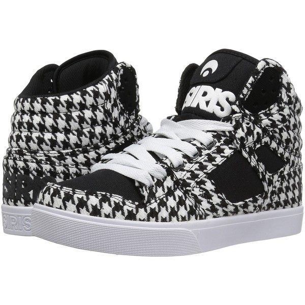 Osiris Clone (Houndstooth) Women's Skate Shoes ($31) ❤ liked on Polyvore featuring shoes, black, black skate shoes, kohl shoes, skate shoes, vegan shoes and black high tops