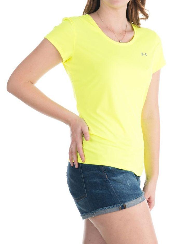 Under Armor Womens Heat Gear Compression Shirt Neon Yellow Short Sleeve Top #UnderArmor #ShirtsTops