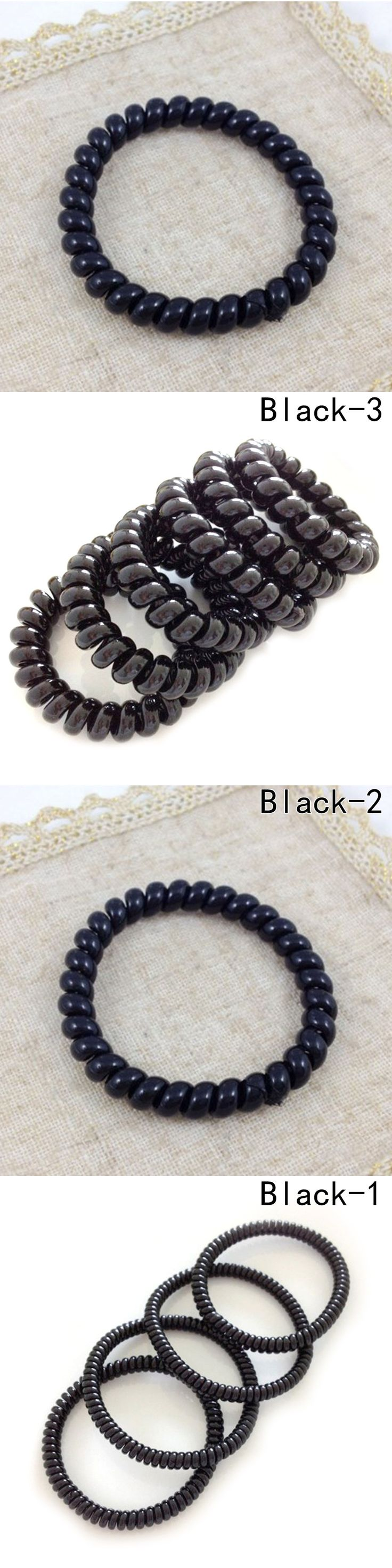 5pcs/set Telephone Lines Hair Gum Hair Accessories For Women Ring Rope, Elastic Rubber Black Color without trace 3 size