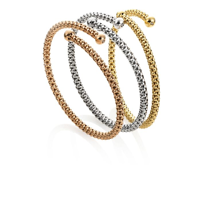 CHIMENTO Stretch Review yellow, white and rose gold bracelets.