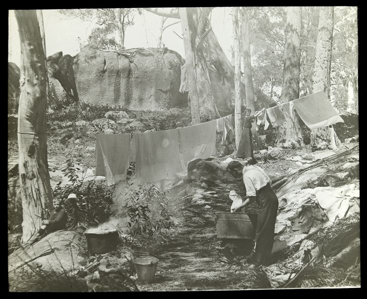 Hanging out the washing. Mt Buffalo. 1890-1900's. Alice Manfield photo (SLV collection)