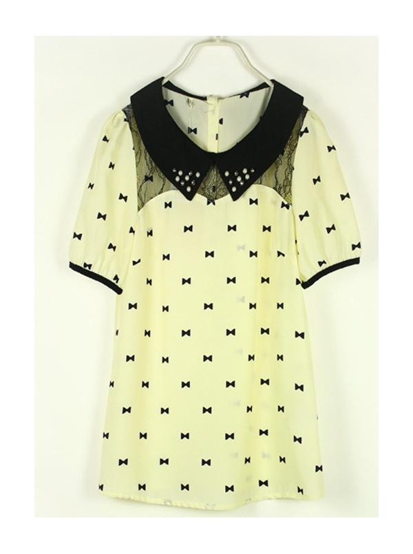 light yellow Printing pearl collar chiffon shirt -