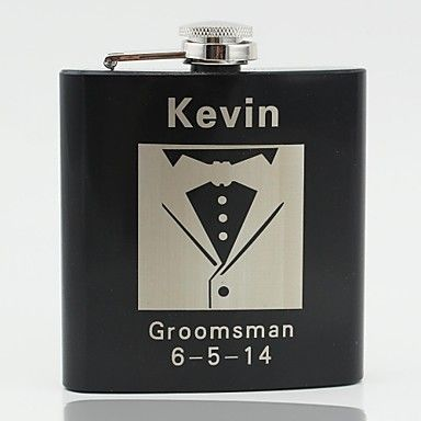 Gift Groomsman Personalized Black Stainless Steel 6-oz Flask - Men's suits – USD $ 6.99