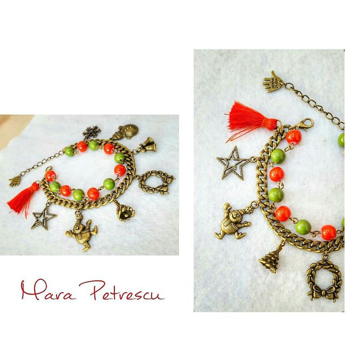 Red and green Christmas bracelet with bronze charms❤🎄
